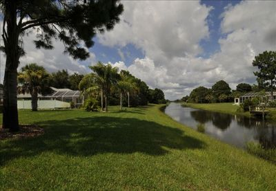 Beautiful backyard view of the peaceful canal looking East.