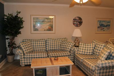 Living Room - Charming décor, functional and comfortable, tile flooring