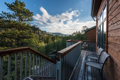 Back main level deck with mountain views