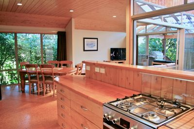 Functional kitchen and dining area.