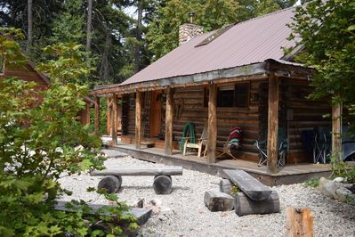 Log Cabin With Fire Pit