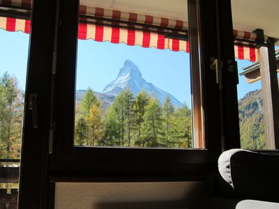 Photo for Apartment Lauber, Haus Wichje A, Zermatt with Matterhorn - View