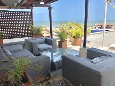Your private pool from gazebo shaded lounge. Striking view of Caribbean sea.