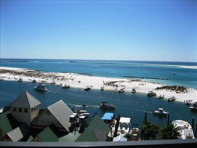 View from balcony across harbor to Norriego Point beach, East Pass & Gulf.