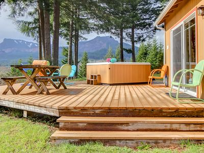 Photo for Dog-friendly w/ river & mountain views, a firepit & pool table!