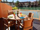 Outdoor dining on the new modern deck