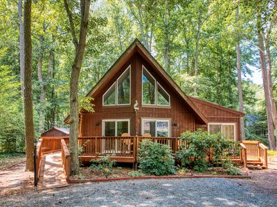 Photo for NEW LISTING! Family-friendly home on a wooded lot w/ a loft, deck, & fire pit