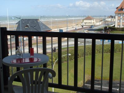 Photo for Large studio with sea view, loggia. Very close to the beach lifeguard.