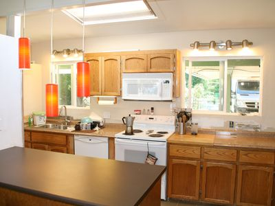 sunny kitchen w/skylight and LED lighting.