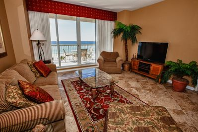 Living Room opens to balcony and has a beautiful view of the Gulf. Hi-Def TV.