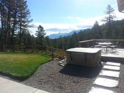Hot tub, deck and a portion of the view right from the house