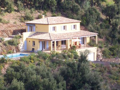 Photo for Luxury 5 bedroom villa, sea view, pool, golf, views, Cote d'Azur.
