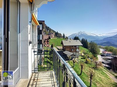 Photo for Hortensia 3 Light apartment with a beautiful open view on the Alps (bay windows) in a small building