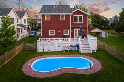 Aeriel view of back of house at twilight
