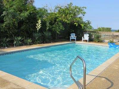 Swim, play or relax by the 16' x 32' pool with beautiful views to the sound