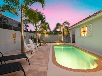 Photo for Charming Heated Pool Home - 3 miles to the Beach, Pet and Family Friendly -Available Year Round!