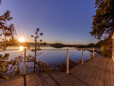 Photo for Fantastic lakefront home w/ great views, decks & cabana; dogs OK!