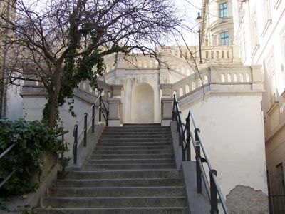 This staircase outside of the apartment leads up to the Castle District