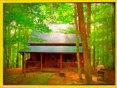 Photo for Gorgeous Private Wooded Romantic Log Cabin W/Grocery Delivery Hot Tub/Video Gam