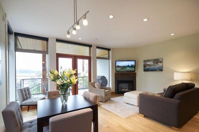 All living rooms have a gas fireplace and beautiful view of the marina