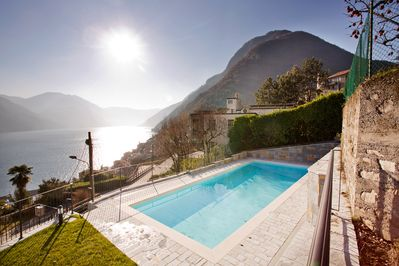 Argegno Pool Apartment boast 180 degree lake views from the home and pool.