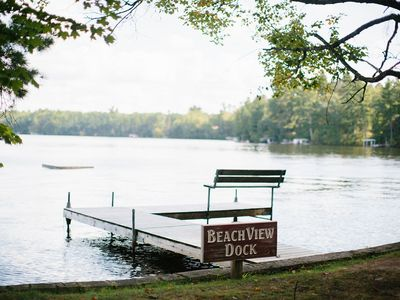 Photo for Pet Friendly Lakeside Cabin with Kayaks, Rowboat, Covered Dock, Campfire Pit