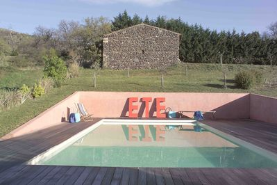 The pool and the barn from above