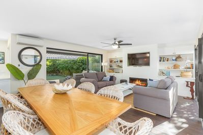 Beautiful protected entertaining areas with jetmaster fireplace