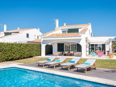 Photo for Luxury villa with pool and sea views, Binidalí, Menorca