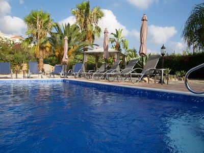Photo for Large villa near Coral Bay, sea views, A/C, pool, roof terrace, Wifi, UK TV
