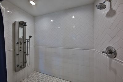 Largest shower in Galveston with multiple shower jets!