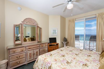 Master Bedroom  - This Master Bedroom features a King size bed and easy access to your 5th floor balcony view. Now also featuring a new flat screen TV and DVD player.
