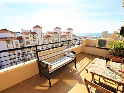 Photo for Lovely apartment with amazing views and air-con, Estepona port near restaurants, bars and beaches