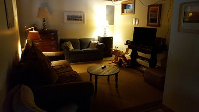 Basement living area with second tv