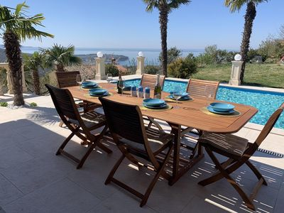 Photo for A peaceful and relaxing vacation in a villa with a private pool and a sea view