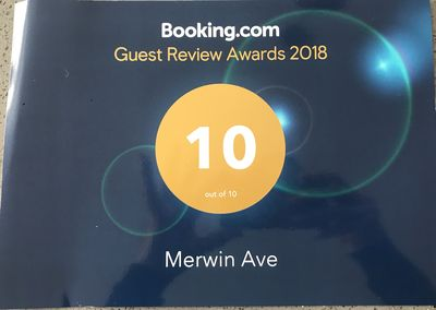 We recently received an award for great reviews on Booking.com