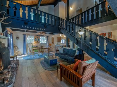 Photo for Cozy cabin w/ a fireplace, deck, & shared tennis - close to skiing - dogs OK!