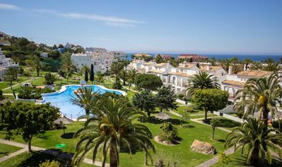 Photo for Beautiful Apartment On the Beach with Terrace, Pool, Tennis Court, Garden & Wi-Fi