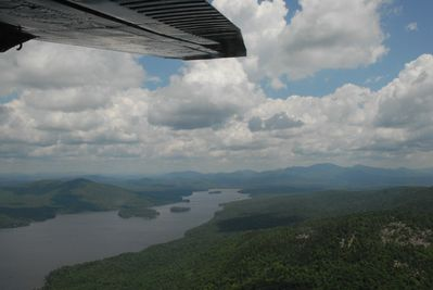 View of Long Lake from scenic seaplane ride (available in town)