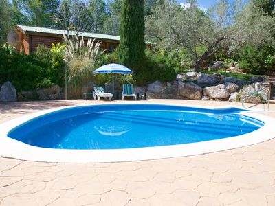 Photo for Charming Chalet, Air-con ,Private pool, garden in peaceful olive grove. & WiFi