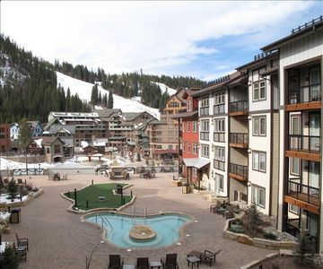 View of ski mountain, base village, and amenities deck from private balcony.