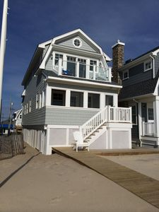 Ocean side, front of cottage note upstairs glass-fronted porch to view ocean.