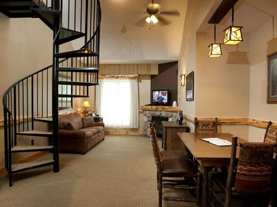 Photo for Top Floor Eagle's Nest Suite + Loft & Fireplace | On-site Spa & Pools!