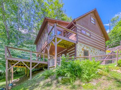 Photo for Cozy cabin w/ beautiful woodwork, sunroom and a private deck!