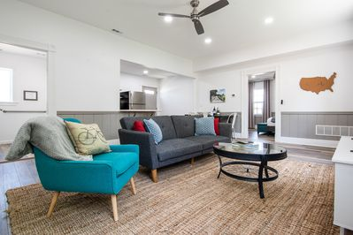 Great room has a fold down sofa sleeper for extra guests
