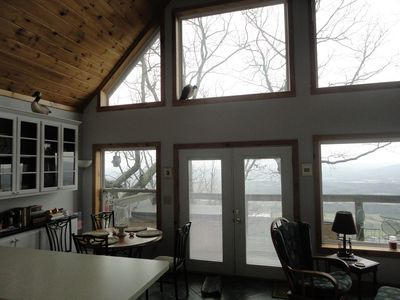 View from Kitchen toward the back Deck