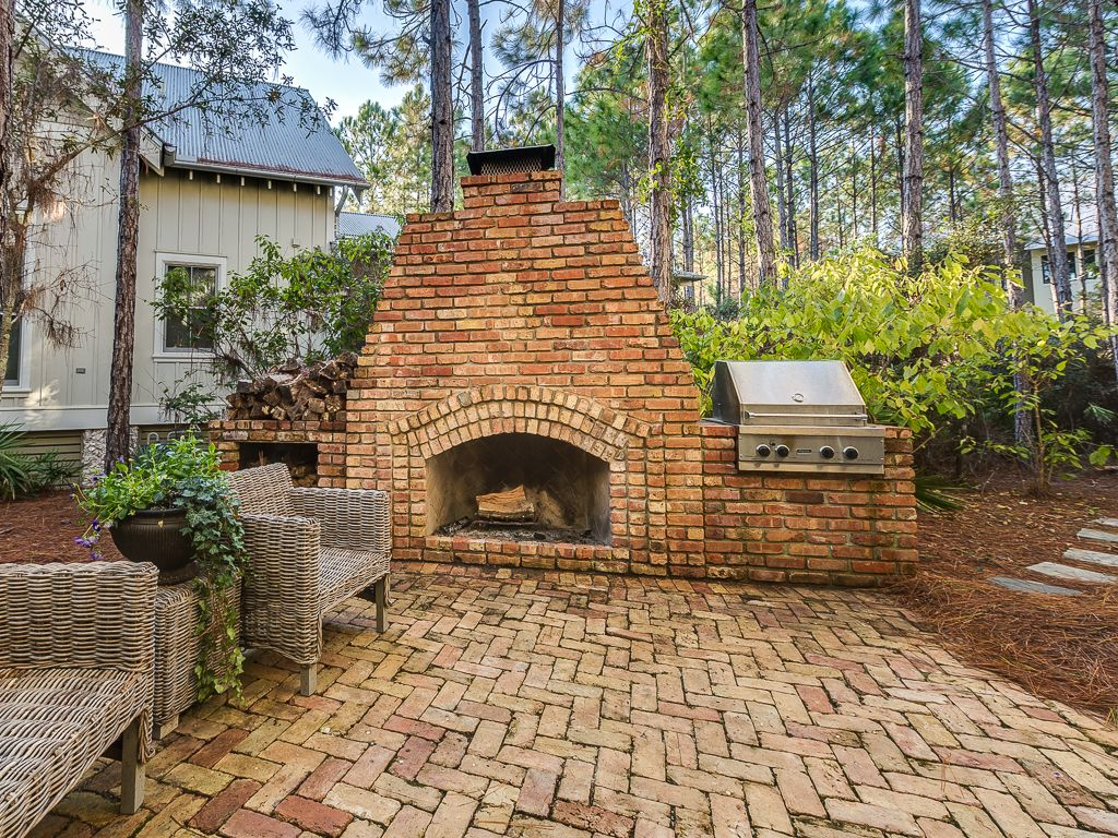 outdoor space with fireplace porch seating vrbo