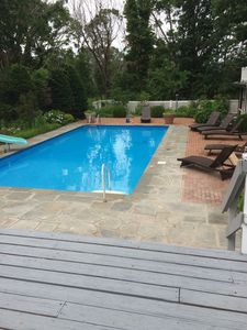 Pool from the back deck of the main house