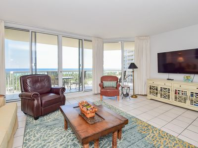 Photo for Tile floors, spacious beachfront condo w/private balcony!