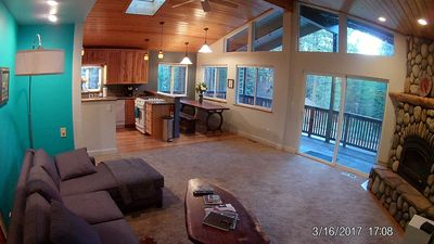 Spacious living room and open kitchen